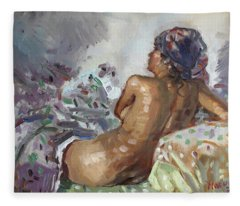 Nude In Violet Fleece Blanket