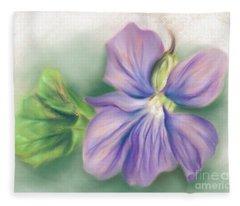Violet And Leaf Fleece Blanket