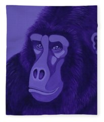 Violet Gorilla Fleece Blanket