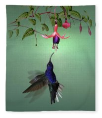 Violet Sabrewing Hummingbird And Fuchsia Fleece Blanket