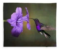 Violet Sabrewing Hummingbird Fleece Blanket