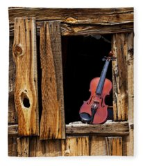 Violin In Window Fleece Blanket