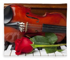 Violin With Rose On Piano Fleece Blanket