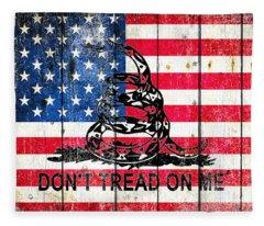 Viper On American Flag On Old Wood Planks Fleece Blanket
