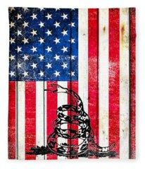 Viper On American Flag On Old Wood Planks Vertical Fleece Blanket