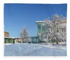 Virginia Tech Campus Moss Arts Center And Institute For Creativity Arts Technology Snowy Day Fleece Blanket