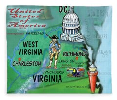 Virginia West Virginia Fun Map Fleece Blanket