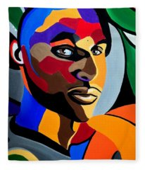 Visionaire, Abstract Male Face Portrait Painting - Illusion Abstract Artwork - Chromatic Fleece Blanket