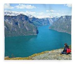 Visitor At Aurlandsfjord Fleece Blanket