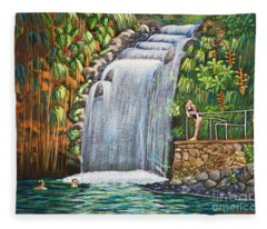 Visitors To The Falls Fleece Blanket