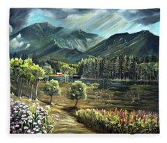Vista View Of Cannon Mountain Fleece Blanket