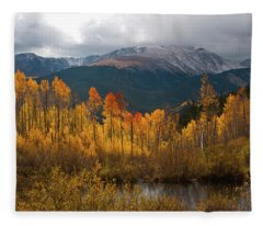 Vivid Autumn Aspen And Mountain Landscape Fleece Blanket