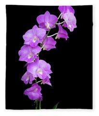 Vivid Purple Orchids Fleece Blanket