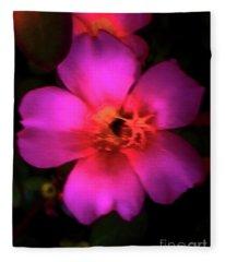 Vivid Rich Pink Flower Fleece Blanket