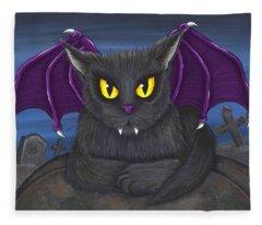 Vlad Vampire Cat Fleece Blanket