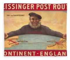 Vlissinger Post Route - Zeeland Maritime Company Poster - London To Flushing Ship Route Fleece Blanket