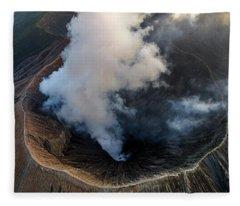 Volcanic Crater From Above Fleece Blanket