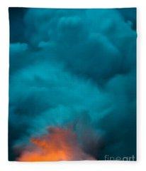 Volcano Smoke And Fire Fleece Blanket