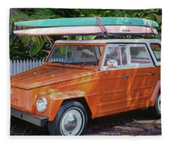 Volkswagen And Surfboards Fleece Blanket