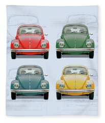 Volkswagen Type 1 - Variety Of Volkswagen Beetle On Vintage Background Fleece Blanket