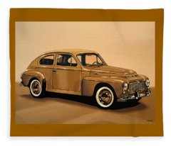 Volvo Pv 544 1958 Painting Fleece Blanket