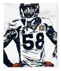 Von Miller Denver Broncos Pixel Art 2 Fleece Blanket