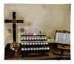 Votive Table, Crucifix And Bible Fleece Blanket