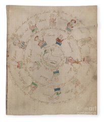 Voynich Manuscript Astro Aries Fleece Blanket