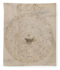 Voynich Manuscript Astro Scorpio Fleece Blanket