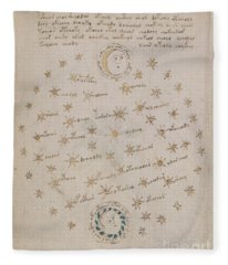 Voynich Manuscript Astro Sun And Moon 1 Fleece Blanket