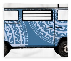 Vw Blue Van Fleece Blanket