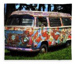 Vw Psychedelic Microbus Fleece Blanket