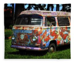 Vw Psychedelic Microbus Fleece Blanket