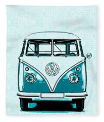 Vw Van Graphic Artwork Fleece Blanket