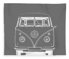 Fleece Blanket featuring the photograph Vw Van Graphic Artwork Tee White by Edward Fielding