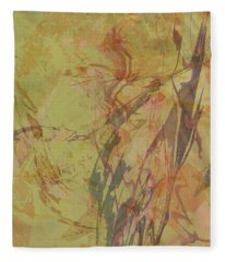 Wabi Sabi Ikebana Rose On Yellow Green Fleece Blanket