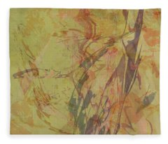 Wabi Sabi Ikebana Rose On Yellow Green Fleece Blanket