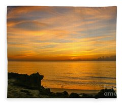 Wading In Golden Waters Fleece Blanket