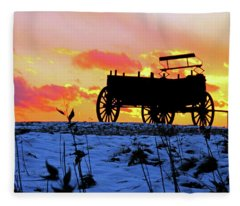 Wagon Hill At Sunset Fleece Blanket