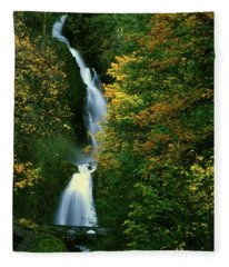 Wahkeena Falls Waterfall Fleece Blanket