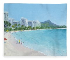 Waikiki Beach Honolulu Hawaii Fleece Blanket