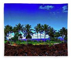 Waikoloa Beach Golf Course Lava And Palm Trees  Fleece Blanket