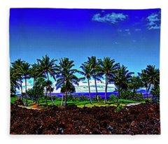 Waikoloa Beach Golf Course Lava And Palm Trees 309010045 Fleece Blanket