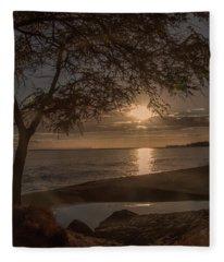 Waimea Bay Sunset 4 Fleece Blanket