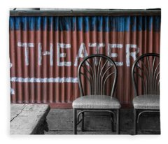 Corrugated Metal Theater Sign Fleece Blanket