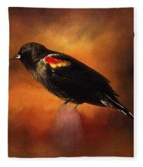 Waiting - Bird Art Fleece Blanket