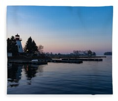 Waiting For Sunrise - Blue Hour At The Lighthouse Infused With Soft Pink Fleece Blanket
