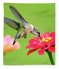 Waiting In The Wings Hummingbird Square Fleece Blanket
