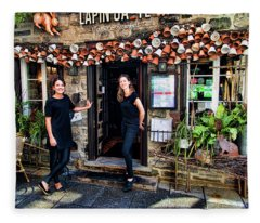 Waitresses At Outdoor French Terroir In Old Quebec City Fleece Blanket