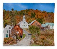 Waits River Church In Autumn Fleece Blanket